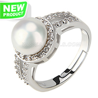 wholesale 925 simple shape bread pearl adjustable ring with zirc