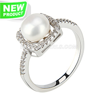 wholesale 925 simple shape bread pearl ring with zircons