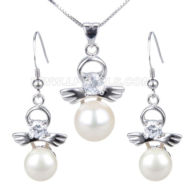 925 sterling silver pearl necklace pendant long earrings set