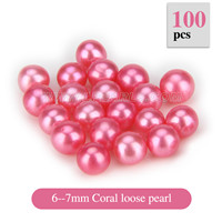 Popular 6-7mm Coral round Akoya loose pearl 100pcs