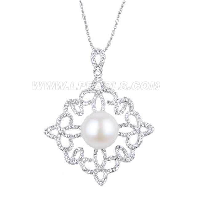 wholesale cube pearl silver plated pendant necklace