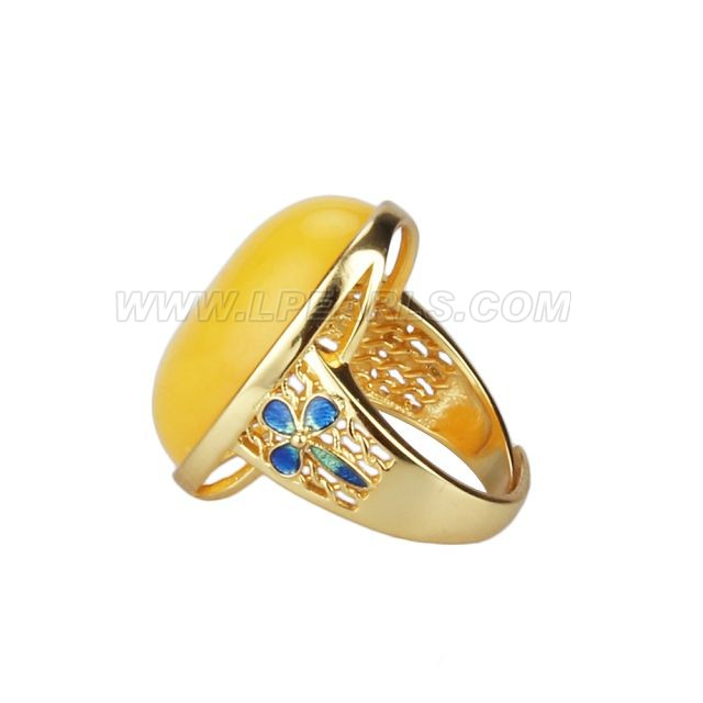 925 sterling silver plated gold amber resizable rings