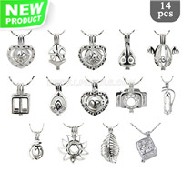 Mixed pendants surprise package Silver plated cage pendant 14pcs