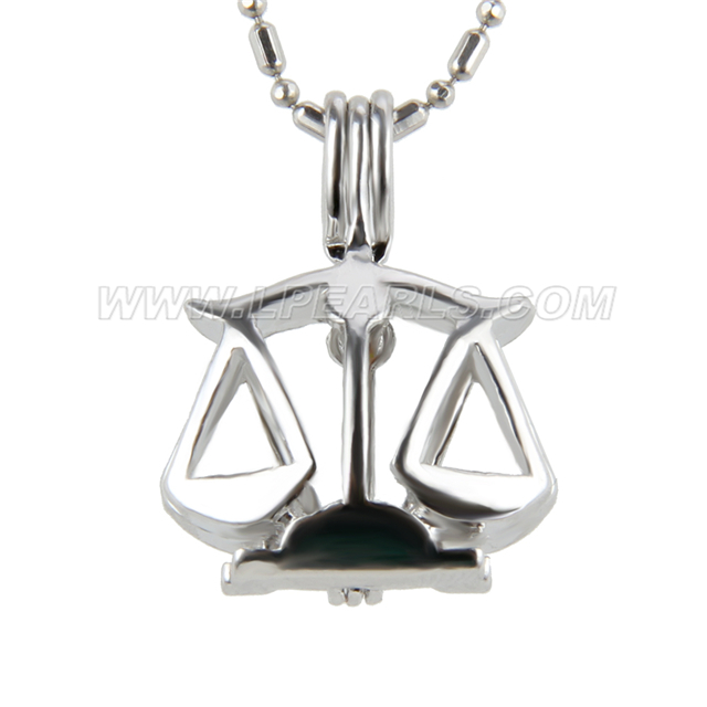Silver plated libra cage necklace pendant 5pcs