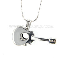 5pcs Silver plated latest Guitar locket necklace pendant