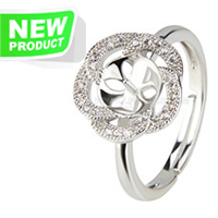 Silver plated flower adjustable pearl ring fitting with zircons
