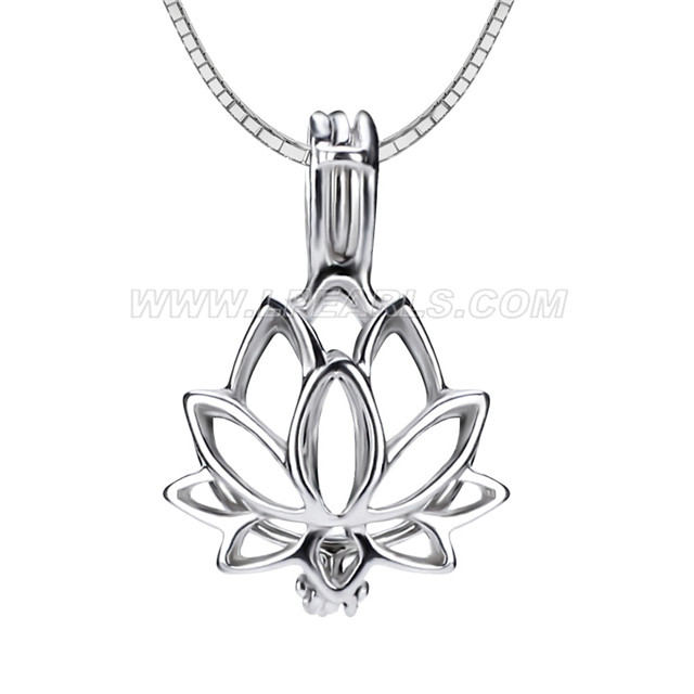 925 sterling silver lotus flower cage pendant