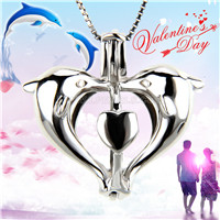 925 sterling silver double dolphin heart cage pendant