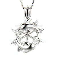 925 sterling silver Double dolphin with zicon locket pendant