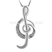 925 sterling silver music note locket pendant