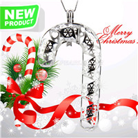 Christmas gift 925 sterling silver Candy cane cage pendant