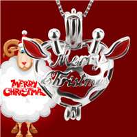 Christmas gift 925 sterling silver Merry Christmas cage pendant