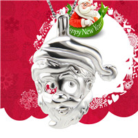 Christmas gift 925 sterling silver Santa Claus head cage pendant
