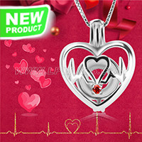 Love design 925 sterling silver beating heart cage pendant