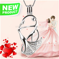 Special design 925 sterling silver Dancing lovers cage pendant