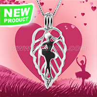 Valentine&#39s 925 sterling silver ballet girl cage pendant