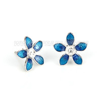 Fashion 925 sterling silver blue flower earring fitting