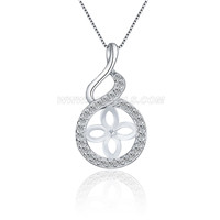 Fashion sterling silver Twisted shape pearl pendant necklace mou