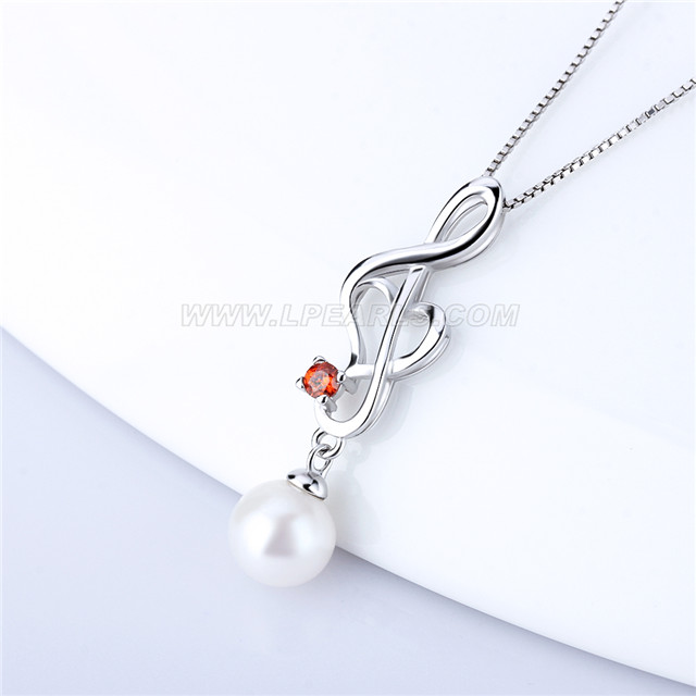 Love heart 925 sterling silver pearl pendant necklace accessory