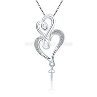 Romantic sterling silver Hearts pearl pendant necklace mounting