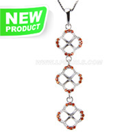 Beautiful sterling silver Clover pearl pendant necklace mounting