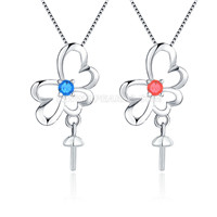Fashion sterling silver Love flower pearl pendant necklace mount