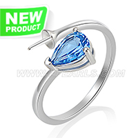 Latest 925 sterling silver Blue zircon rings mounting