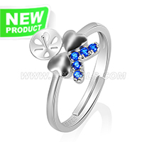 Fashion 925 sterling silver Bowknot adjustable rings accessory
