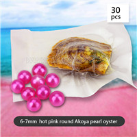 Exciting Hot Pink Round Akoya 6-7mm pearl in oyster 30pcs