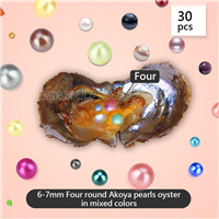 6-7mm Four round Akoya pearls in oyster mixed 18 colors 30pcs
